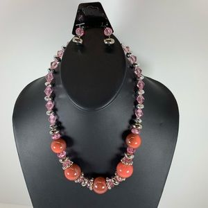 Jewelry - 5/$25 Coral and Pink Beaded Necklace Set
